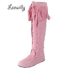 Lsewilly/из флока на шнуровке бахрома на плоской подошве женские сапоги с высоким голенищем Демисезонный кисточкой сапоги до колена плюс Размеры AA224