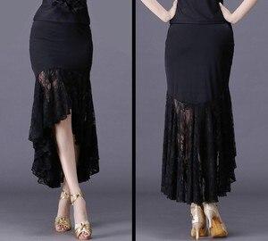 Image 2 - 2020New seksi Latin dans etekler kadın siyah dantel etek düzensiz balık kuyruğu etek uzun balo salonu dans elbise