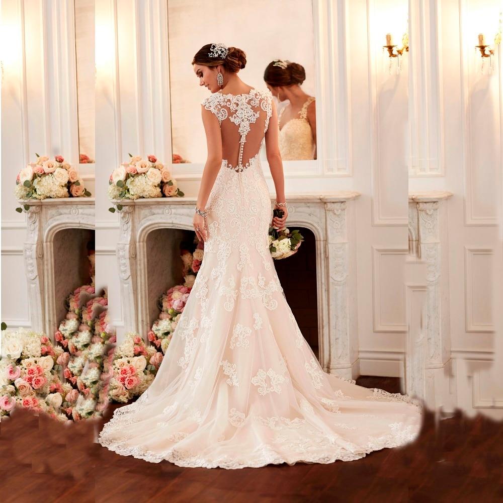 2016 sexy mermaid wedding dress vestido de noiva cap sleeve robe de mariee hot sale lace wedding. Black Bedroom Furniture Sets. Home Design Ideas