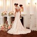 2016 Sexy Sereia da Luva do Tampão do vestido de casamento vestido de noiva robe de mariee vestido de Venda Quente Do Laço Vestido De Noiva Amanda Novias