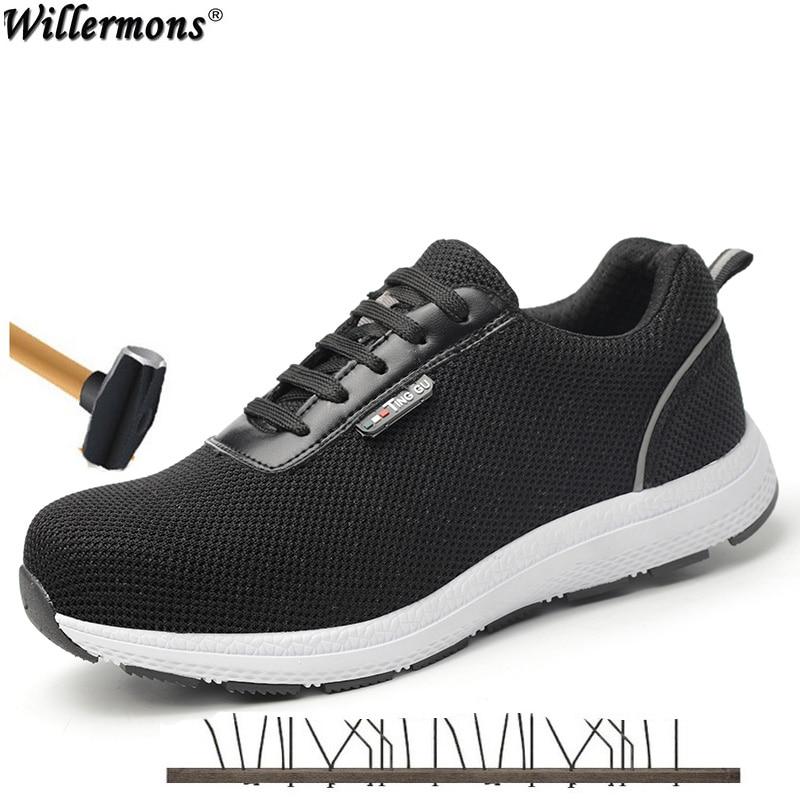 2019 dos homens Novos Ao Ar Livre Sapatos Botas de Biqueira de Aço de Segurança de Proteção de Curto Homens 6kv Isolado À Prova de Punção De Aço Meados Único sapatos de trabalho