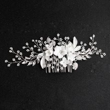 SLBRIDAL Handmade Silver Alloy Clear Crystal Rhinestone Flower Wedding Hair Comb Bridal Headdress Accessories Women Jewelry