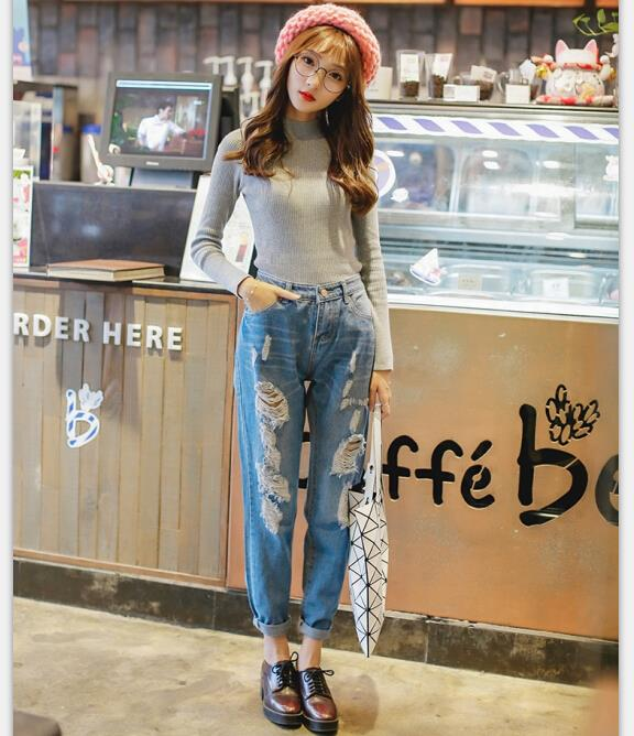 2015 Womens Fall Fashion Korean Style Women Boyfriend Jeans High ...