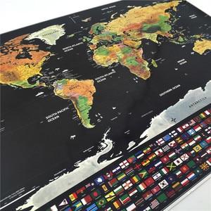 Image 4 - Deluxe Scratch kapalı dünya haritası kişiselleştirilmiş seyahat Atlas Poster yenilik harita