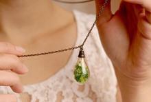 20pcs moss handmade antique bronze necklace, glass vial green moss pendant necklace 70cm long ( finished necklace)