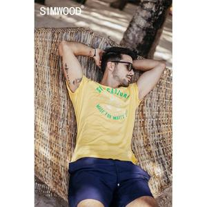 Image 1 - SIMWOOD 2020 summer new pineapple letter print t shirt men holiday style fashion 100% cotton t shirt breathable top tees  190326
