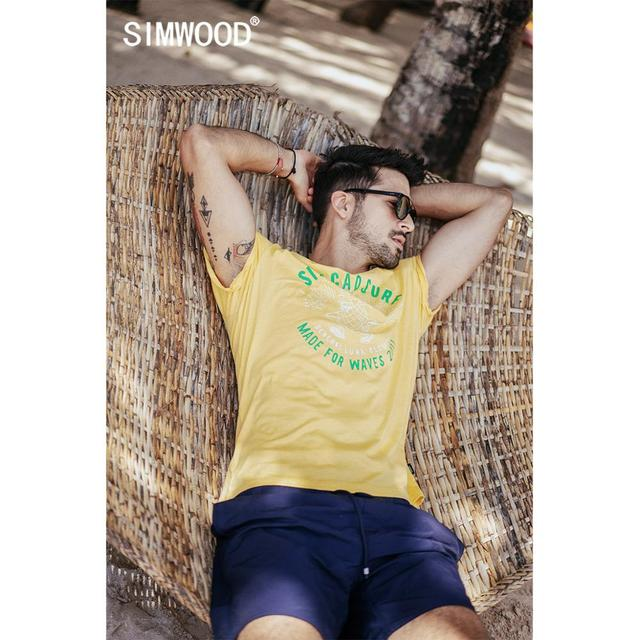 SIMWOOD 2020 summer new pineapple letter print t shirt men holiday style fashion 100% cotton t shirt breathable top tees  190326