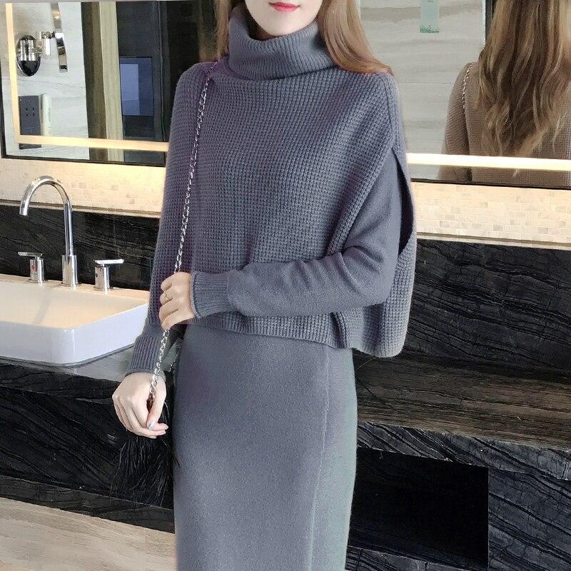 Paste Nouvelle La Mode Robes 2018 gray Robe Taille Plus Tricoté Cou Automne Femmes black Basant Printemps O pièce Lx649 Deux pink Costume Épais Vêtements rrdRqaw