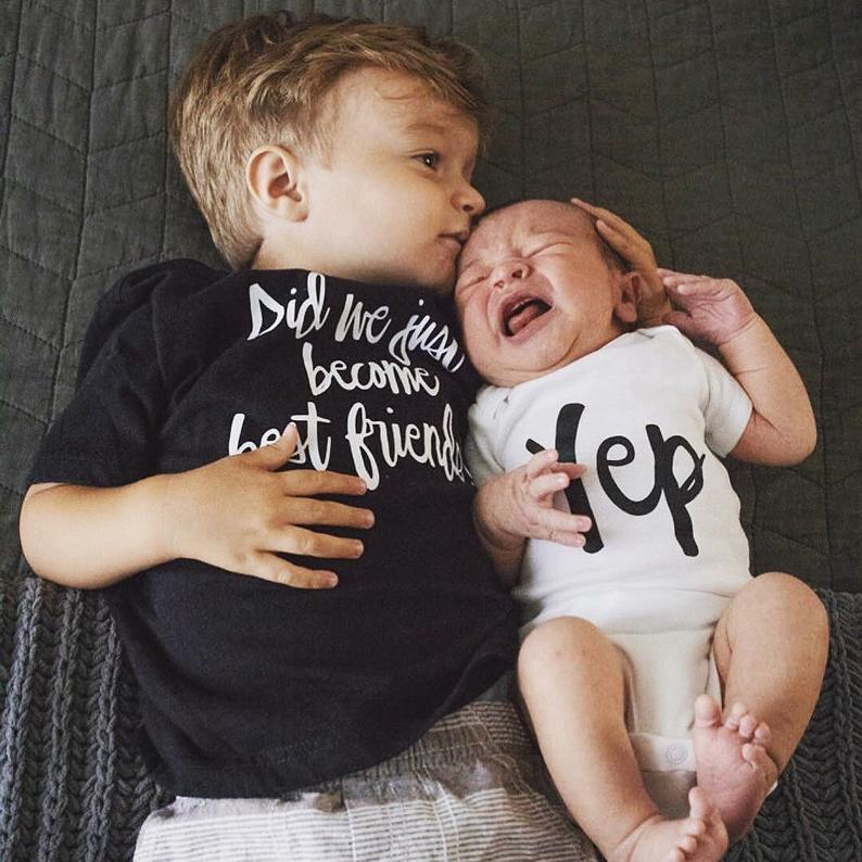 Did We Just Become Best Friends? Yep! Matching Best Friend Tshirt Brother Tshirt Baby Bodysuit Summer Short Sleeve Twin BFF Tops