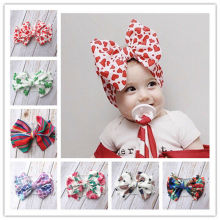 7 Colors Newborn Baby Girls Big Bow Headband Different Pattern Print Elastic Hair Accessories Lovley Fashion Gifts for