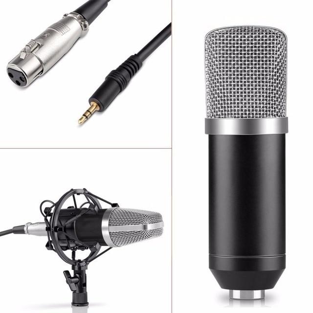Professional 3.5mm Wired Condenser KTV Microphone Cardioid Pro Audio Studio Vocal Recording Mic KTV Karaoke+ Metal Shock Mount