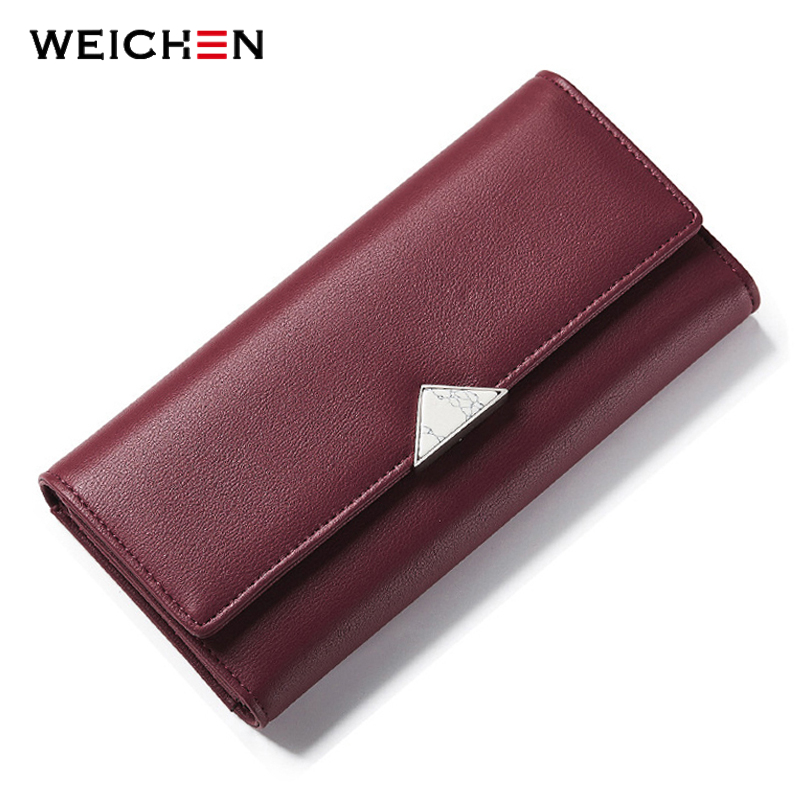 WEICHEN Geometric Nature Stone Women Wallet Burgundy Many Departments Dompet Wanita Brand Designer Fesyen Ladies Long Purse
