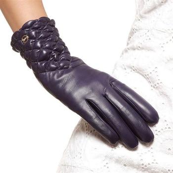 High Quality Brand Genuine Leather Gloves  Soft Women Sheepskin Glove Fashion Trend Winter Driving EL005NC-5