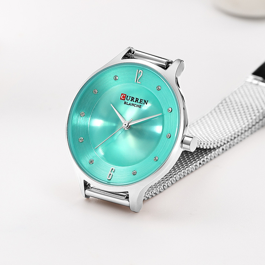 CURREN Green Ladies Watch Small Dial Ultra Thin Women's Watches Bayan Kol Saati Fashion Women Wrist Woman Watch 2019 Silver(China)