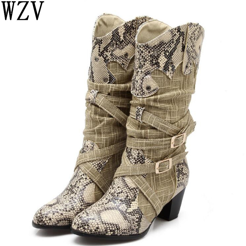 2018 Women's Winter Snow Boots Lady's Western Cowboy Boots Snake Print Mid Calf Snow Boots Shoes Women Botas Mujer Fur Boots