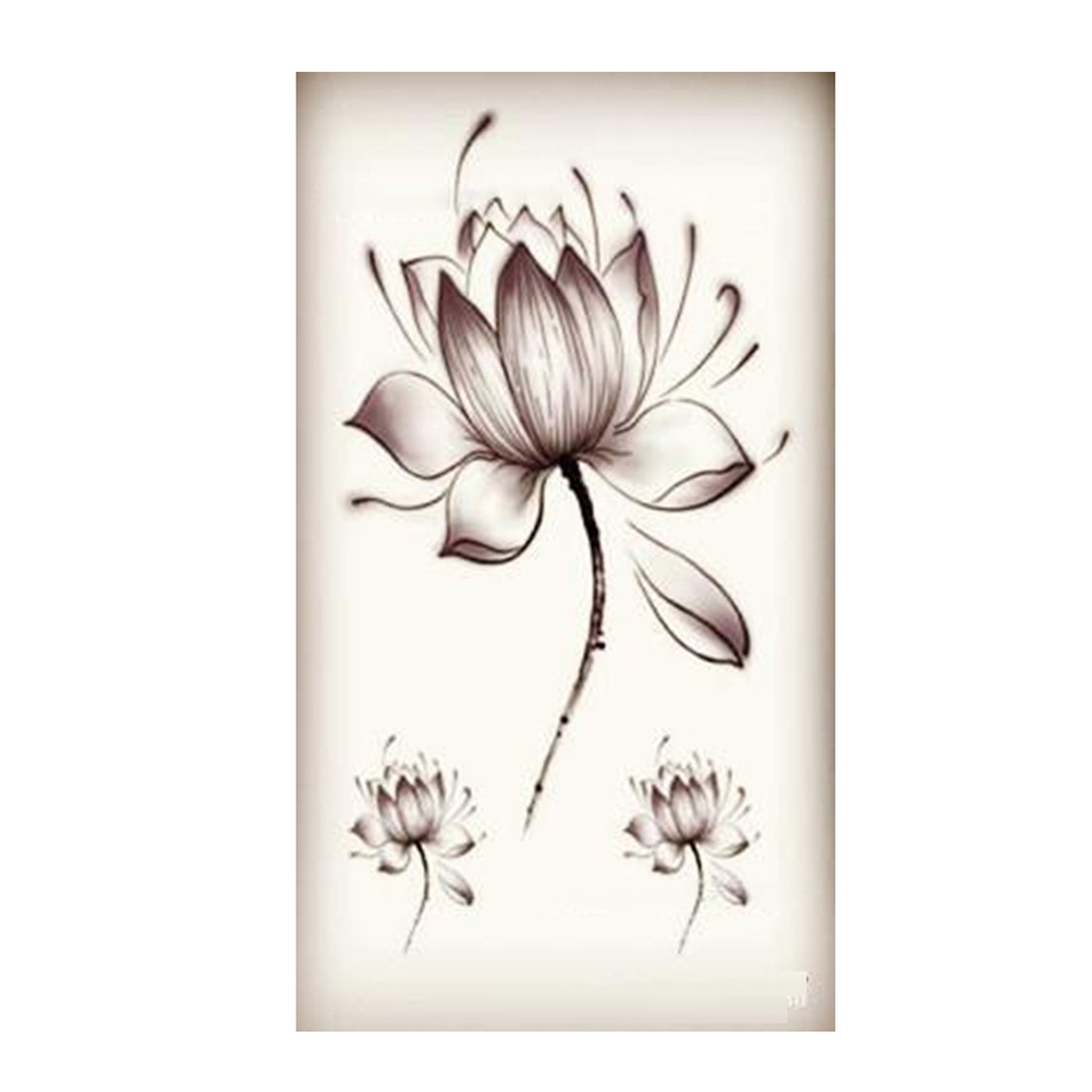 Black Waterproof Lotus Flower Stickers Women Lotus Flower Tattoo