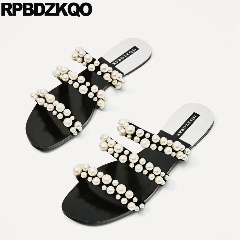 Flat Famous Brand Slip On Black Sandals Pearl Slippers Plus Size Strappy  Designer Shoes Women Luxury 2017 Gladiator Roman Slides