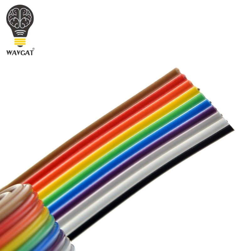 1 Meter 1.27mm Spacing Pitch10 WAY 10P Flat Color Rainbow Ribbon Cable Wiring Wire For PCB DIY 10 Way Pin