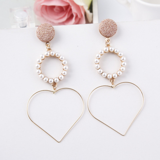 New Heart Shape Simulated Pearl Long Drop Earrings Temperament Elegant Korea Style For Women Jewelry 5c5001