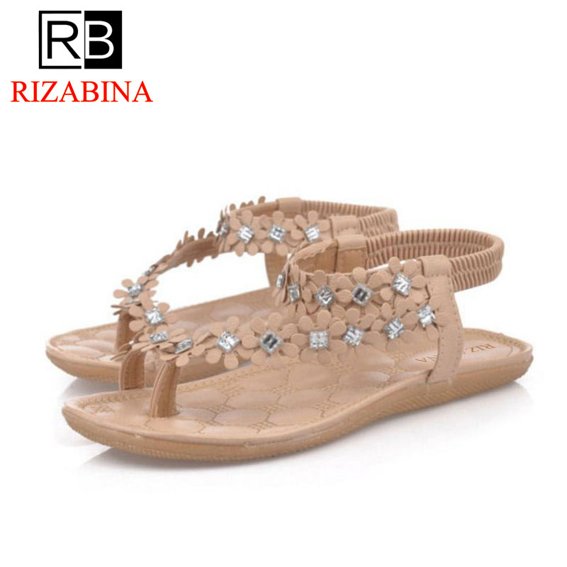 RizaBina Classic Women Summer Vacation Flats Sandals Flower Beading Flip Flops Holiday Beach Shoes Women Footwear Size 35-39 rizabina concise women sneakers lady white shoes female butterfly cross strap flats shoes embroidery women footwear size 36 40