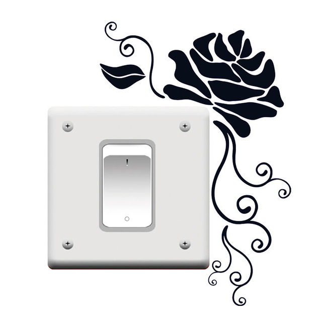 e0ef2b38a9e1 DIY Art Light Switch Removable Rose Flower Wall Sticker Home Vinyl Decal  Decor 4WS0115