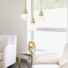 Nordic Lights Industrial Wind Copper Pendant Lamps Modern LED Glass Hanging Lamp Restaurant Living Room Decor Lighting Luminaire