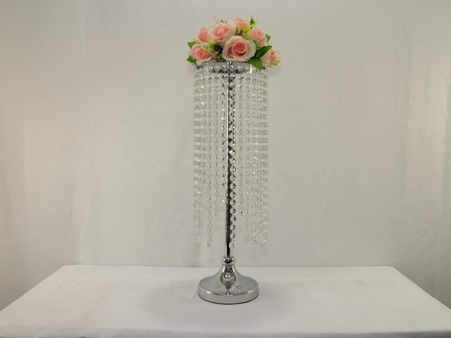 Wedding Table Centerpiece Pillar Crystal Chandelier Flower Stand Decoration 10pcs Lot