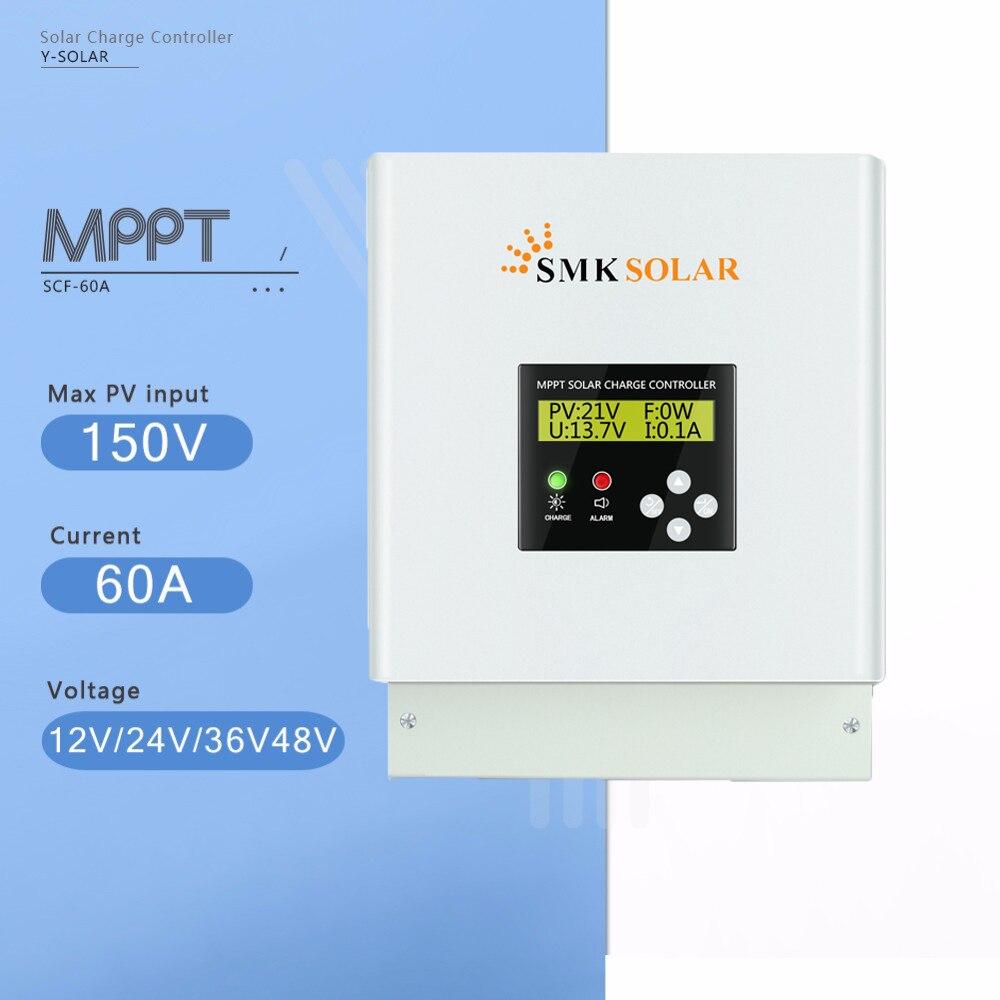 60A MPPT Controlador de Carga Solar 48 36 24 12 v v v v Solar Controlador do Carregador de Bateria Display LCD Duplo regulador de ventilador de Refrigeração Solar