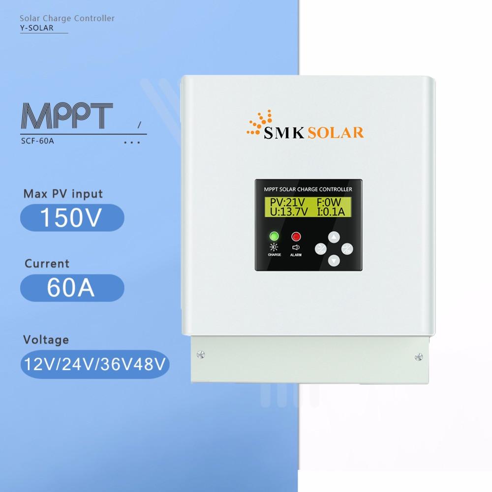 MPPT 60A Contrôleur de Charge Solaire 12 v 24 v 36 v 48 v Contrôleur De Chargeur De Batterie Solaire écran LCD Double ventilateur De Refroidissement Solaire Régulateur