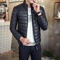 2016 Novos Homens de Inverno Outono Quente Dos Homens Jaqueta de Luz Ultra fino Plus Size Casacos de Inverno Dos Homens Gola Outerwear Casaco M-4XL