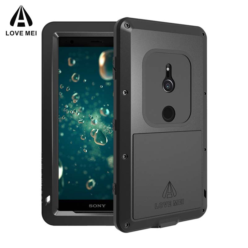 Love Mei Aluminum Armor Case for Sony Xperia XZ2 / XZ2 Compact Waterproof Shockproof Powerful Cover for XZ2 Free Tempered Glass