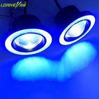 2PCS Car Fog Lamps Assembly With High Quality 30W COB LED Lens Angel Eyes Fog Lights