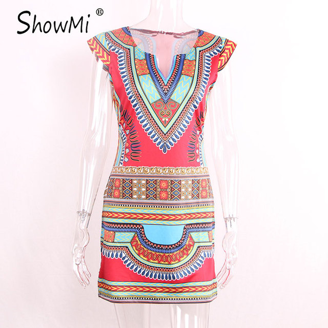 ShowMi Women Summer Dress Casual 2017 Short V-neck Ladies Sexy African Dresses Dashiki Traditional Print Mini Womens Beach Dress
