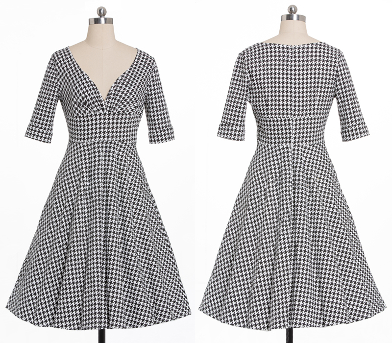 Tonval Houndstooth Vintage 50s Rockabilly Sexy V Neck Plaid Dress Women Pin Up Half Sleeve Autumn Party Retro Elegant Dresses