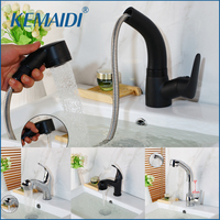 KEMAIDI Pull Out Solid Brass Stream Spray Spout Black Chrome Brass Deck Mount Tap Kitchen Sink Crane Faucet Mixer Polish Tap