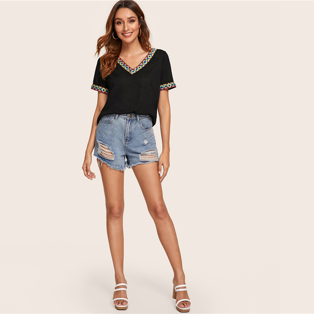 V-Neck Aztec Styled Embroidered Top