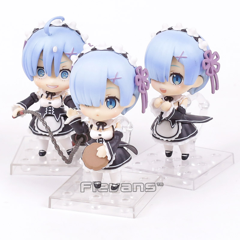 Re:Life in a different world from zero Rem PVC Figures Collectible Model Toys Nendoroid Dolls 3pcs/lot 10cm