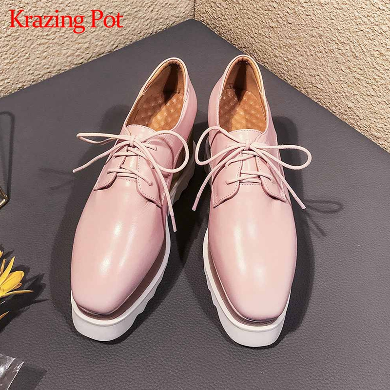 Krazing pot hot sale British school genuine leather wedges high heels women pumps square toe solid
