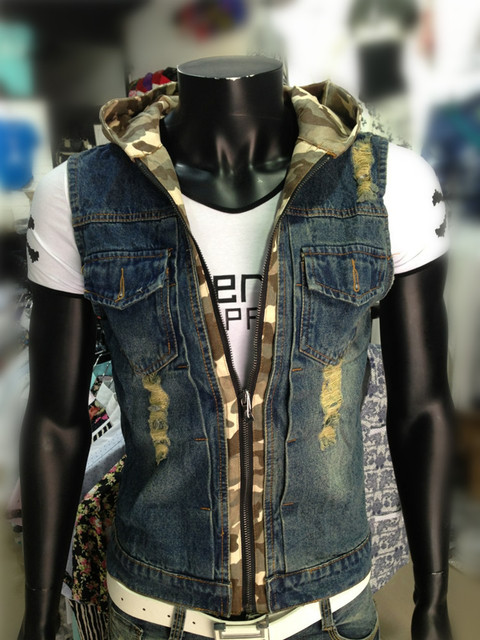 Men Hooded Vest Jacket Denim Jackets 2017 New Fashion Slim Fit Male Ripped Denim Vests Camouflage Print Free Shipping