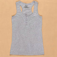 New 2013 Free Shipping Promotion Summer Hot Female Button Sleeveless T Shirt Vest Casual Sport Button