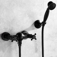 Ванная комната Винтаж Никель матовый черный латунь простой набор для душа настенный душевой смесителя кран 3 смеситель функций клапан