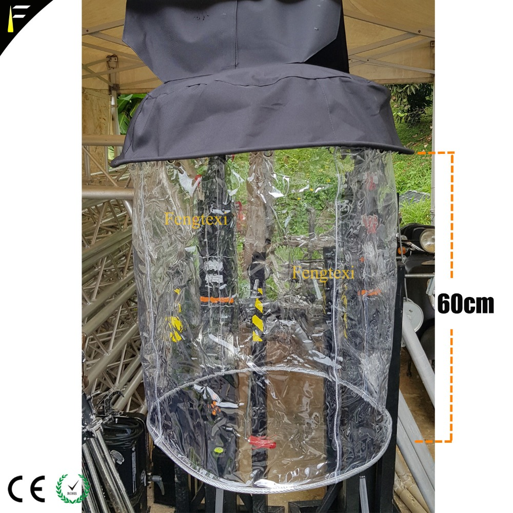 10pcs Beam Light 10R 15R 17R Moving Head Hanging Rain Cover Coat Crystal Transparent Rainy Cover With Coverage 60cm Height