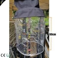10 pces feixe de luz 10r 15r 17r cabeça em movimento pendurado capa de chuva casaco de cristal transparente capa chuvosa com cobertura 60cm altura