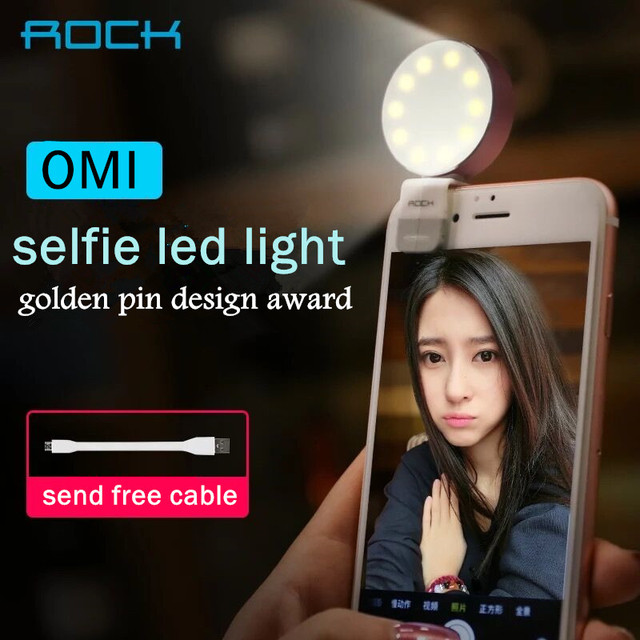 Roca omi selfie led light up aleación de metal de la lámpara flash de la cámara caliente led luces para ios android smartphone tablets