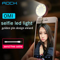 Rock OMI Selfie LED Light Up lamp Metal Alloy camera flashlight warm leds lights for Android iOS Smartphone Tablets