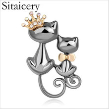 Sitaicery Lovely Crown Bow Tie Two Cats Brooch Banquet Accessories Women Jewelry Party Gift Animal Cat Pin Silver Broche