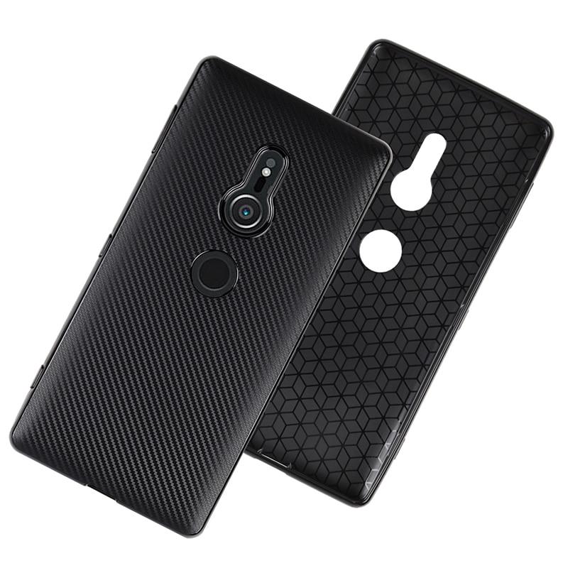 carbon fiber silicone case sony xperia xz2 (10)
