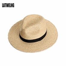 Nuevos amantes de la moda Panamá sombreros para hombres mujeres grande ancho  Brim Juzz Playa Sol sombrero hecho a mano paja rafi. 90c8ea613c8