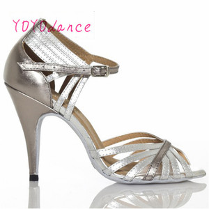 Image 3 - Gold Silver Latin Modern Dance Shoes Soft Outsole Female Square 6 7.5cm,8.5cm Thin Heel Athletic Ballroom Dancing Shoes