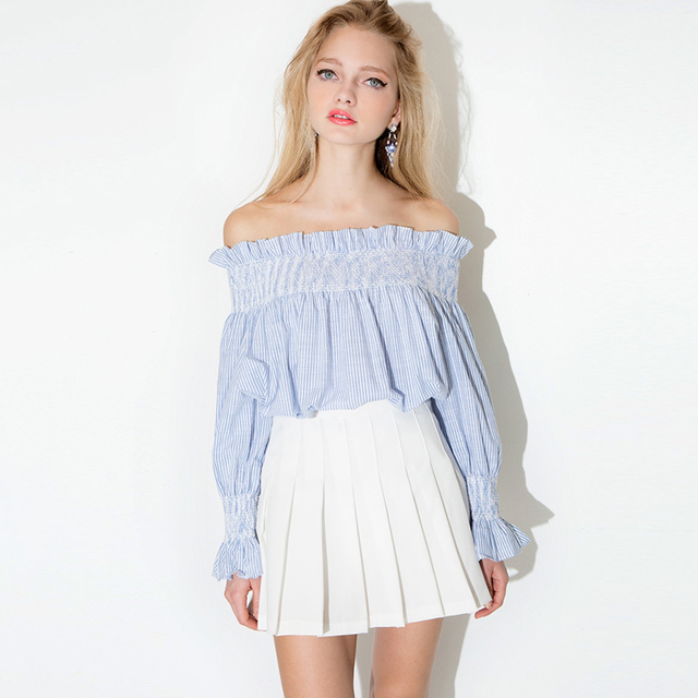 e34e8b9e2f373 Women Girls Fashion Cotton Blue White Striped Tops Off the Shoulder Long  Sleeve T-Shirts Loose Elastic Ruffle Shirts Spring Tees